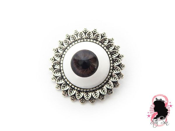 Antique Silver and Brown Eyeball Brooch